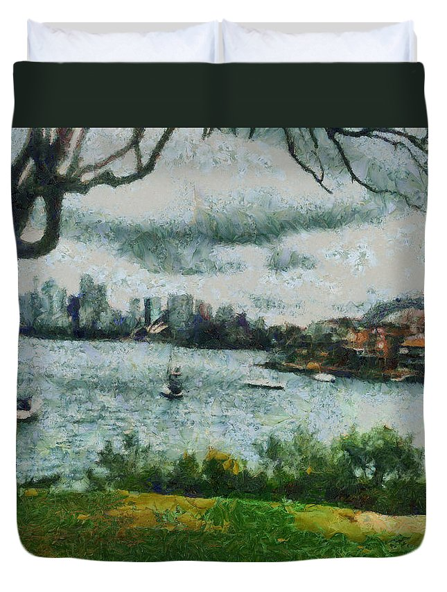 Skyline Duvet Cover featuring the photograph Water And Scenery by Ashish Agarwal