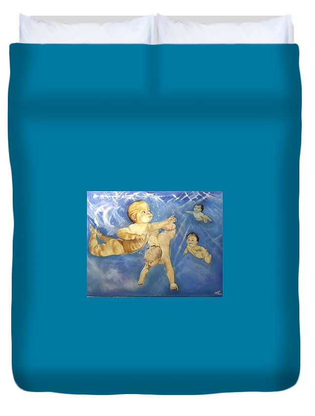 Babies Duvet Cover featuring the painting Water Babies by Jane Simpson