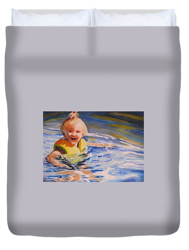 Swimming Duvet Cover featuring the painting Water Baby by Karen Stark