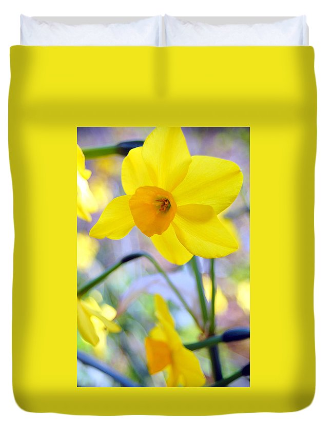 Daffodil Duvet Cover featuring the photograph Water Color Daffodil by Amy Fose