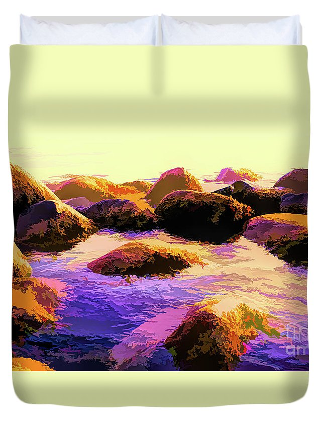 Rock Duvet Cover featuring the photograph Water Color Like Rocks In Ocean At Sunset by Josephine Cleopahrt