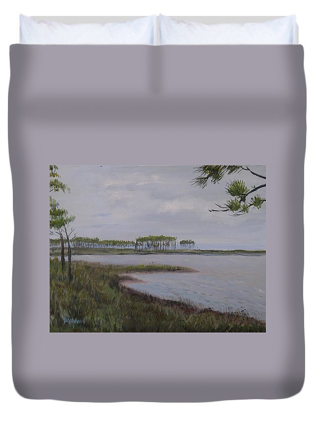 Landscape Beach Coast Tree Water Duvet Cover featuring the painting Water Color by Patricia Caldwell