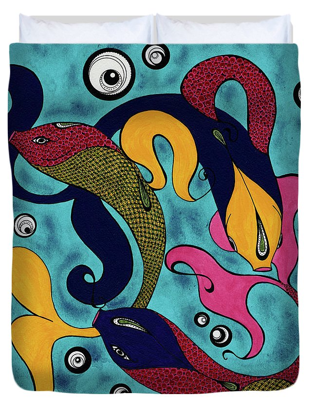 Fish Duvet Cover featuring the drawing Water Dance by Michele Sleight