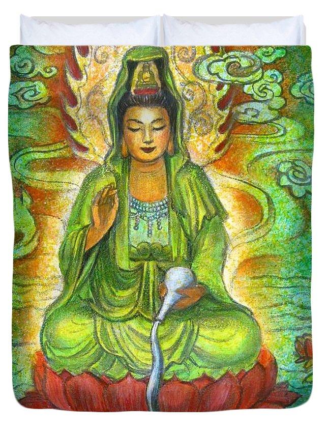 Kuan Yin Duvet Cover featuring the painting Water Dragon Kuan Yin by Sue Halstenberg
