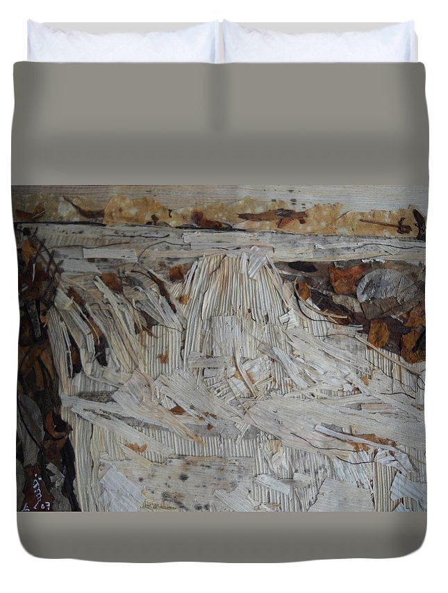 Water Fall Duvet Cover featuring the mixed media Water-Fall after Rainy Season by Basant Soni