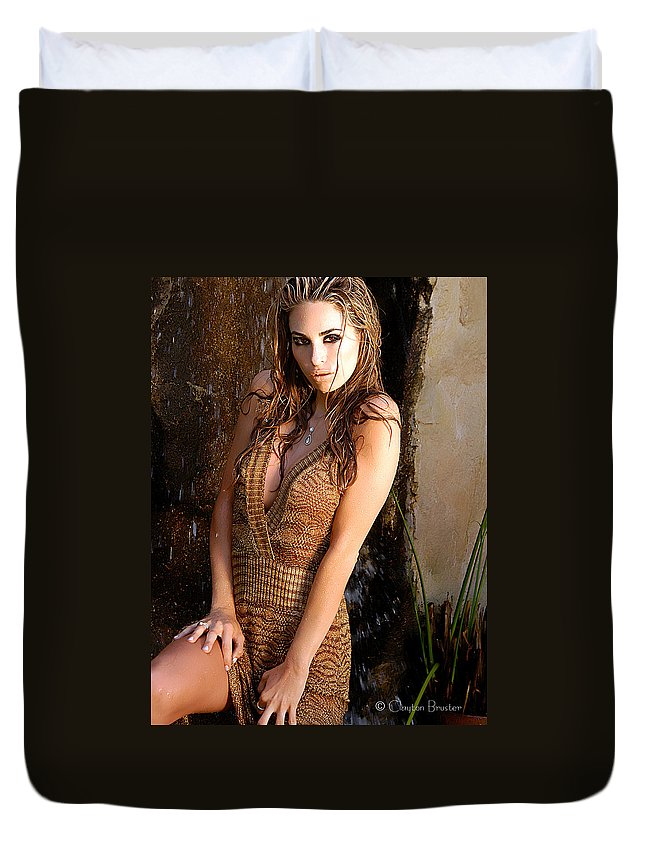 Clay Duvet Cover featuring the photograph Water Fall Beauty by Clayton Bruster