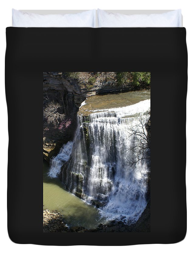Falls Duvet Cover featuring the photograph Water Fall In Tennessee by Douglas Barnett