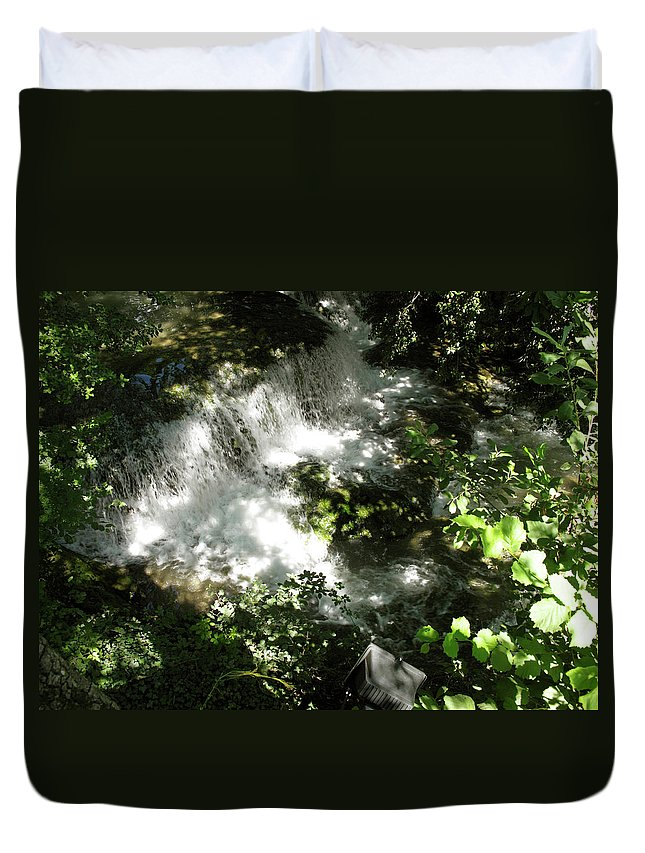 Branch Duvet Cover featuring the photograph Water Fall In The Woods by Stefania Levi