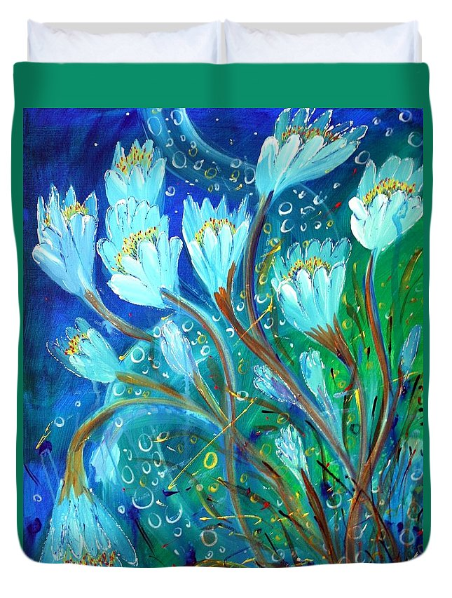 Flowers Duvet Cover featuring the painting Water Flowers by Luiza Vizoli