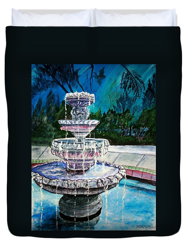 Acrylic Duvet Cover featuring the painting Water Fountain Acrylic Painting Art Print by Derek Mccrea