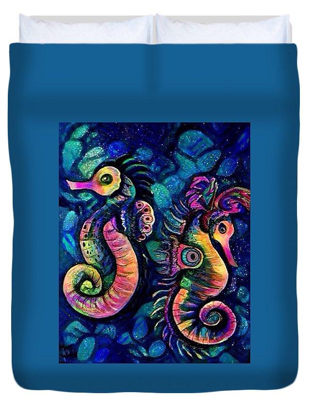 Sea Horses Duvet Cover featuring the digital art Water Horses B by Megan Walsh