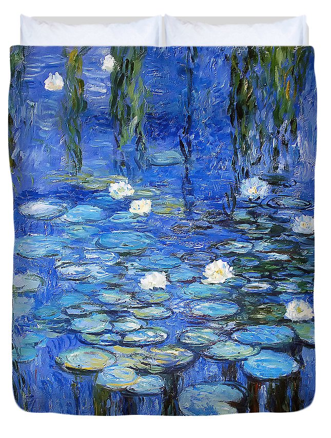 Water Lilies Duvet Cover featuring the photograph water lilies a la Monet by Joachim G Pinkawa