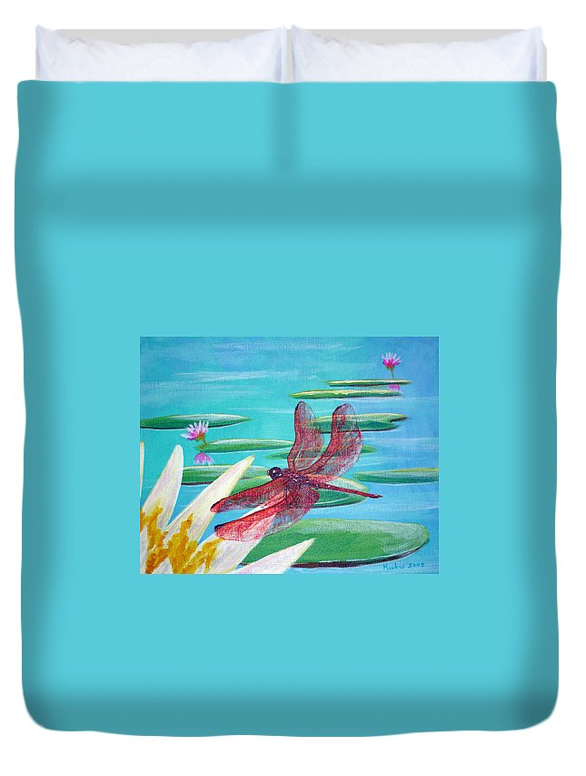 Water Duvet Cover featuring the painting Water Lilies And Dragonfly by Susan Kubes