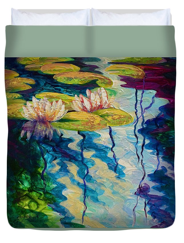 Water Lily Duvet Cover featuring the painting Water Lilies I by Marion Rose