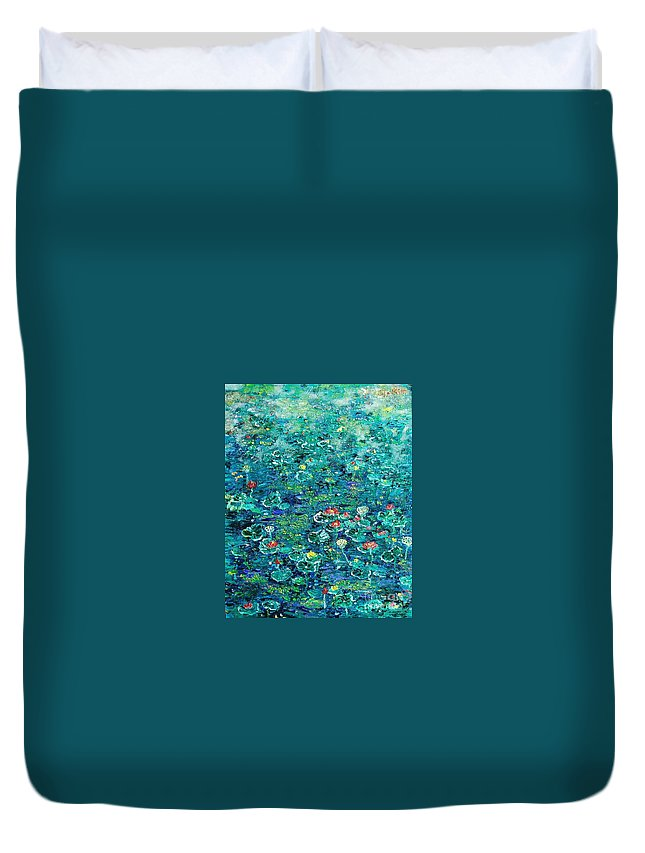 Water Lily Paintings Duvet Cover featuring the painting Water Lilies Lily Pad Lotus Water Lily Paintings by Seon-Jeong Kim