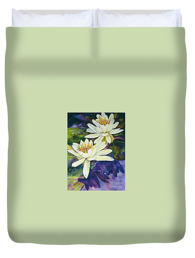 Flower Duvet Cover featuring the painting Water Lilies by Norma Boeckler