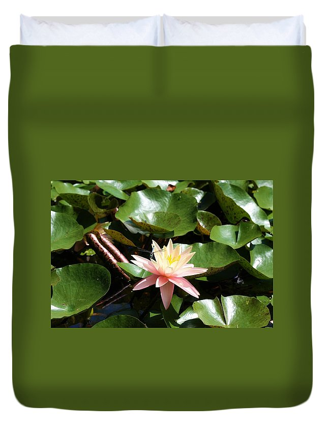 Water Lilly Duvet Cover featuring the photograph Water Lilly With Dragonfly by Kristina Jones