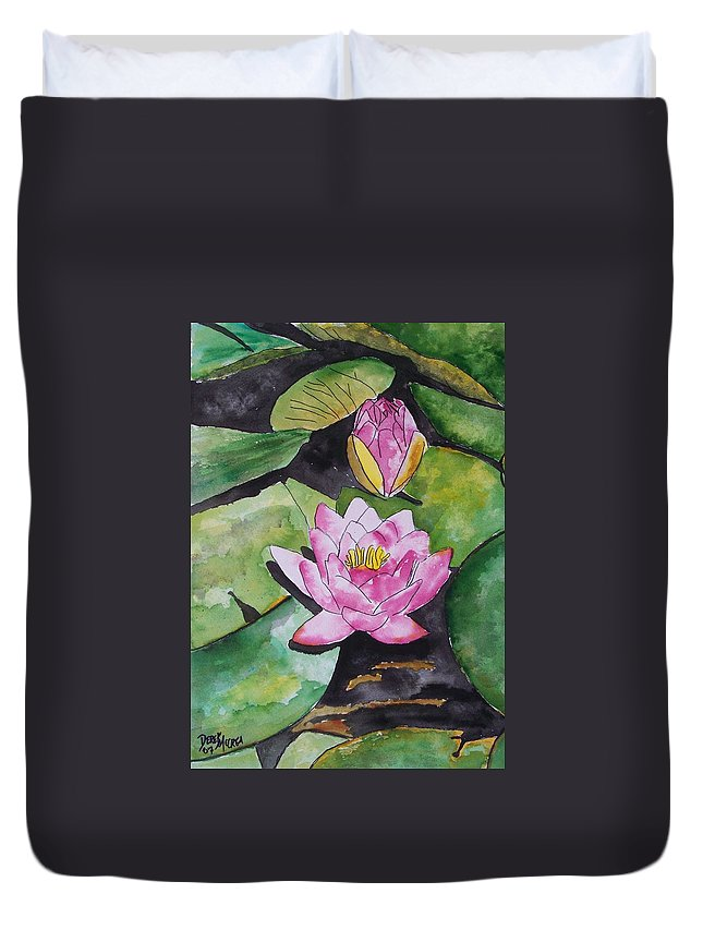 Water Lily Duvet Cover featuring the painting Water Lily by Derek Mccrea
