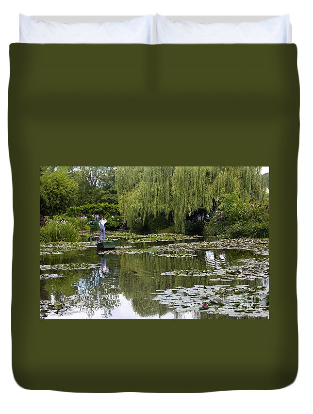 Monet Gardens Giverny France Water Lily Punt Boat Water Willows Duvet Cover featuring the photograph Water Lily Garden Of Monet In Giverny by Sheila Smart Fine Art Photography