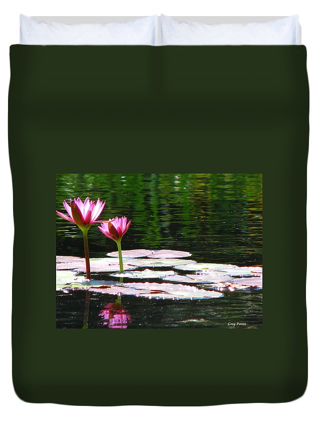 Patzer Duvet Cover featuring the photograph Water Lily by Greg Patzer