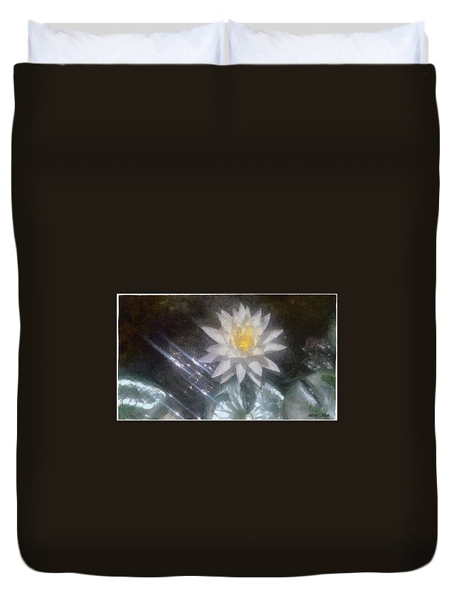 Water Lily Duvet Cover featuring the painting Water Lily In Sunlight by Jeffrey Kolker