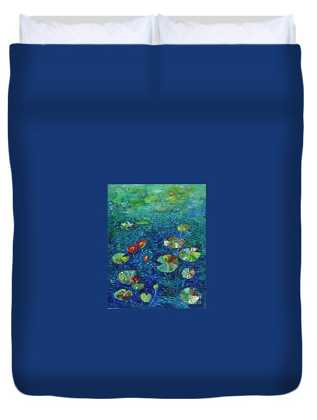 Lotus Paintings Duvet Cover featuring the painting Water Lily Lotus Lily Pads Paintings by Seon-Jeong Kim