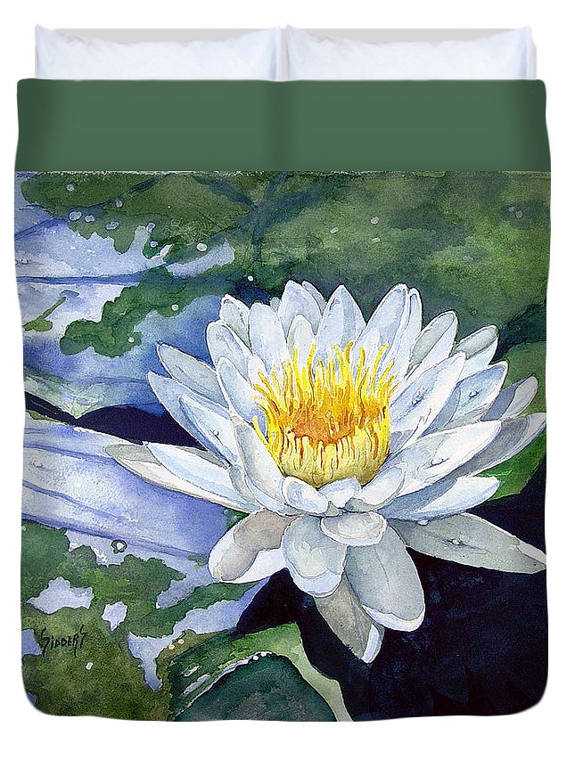 Flower Duvet Cover featuring the painting Water Lily by Sam Sidders
