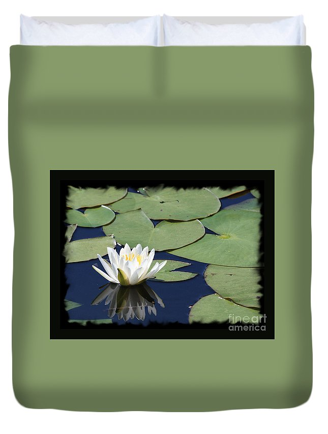 Water Lily Duvet Cover featuring the photograph Water Lily With Black Border by Carol Groenen