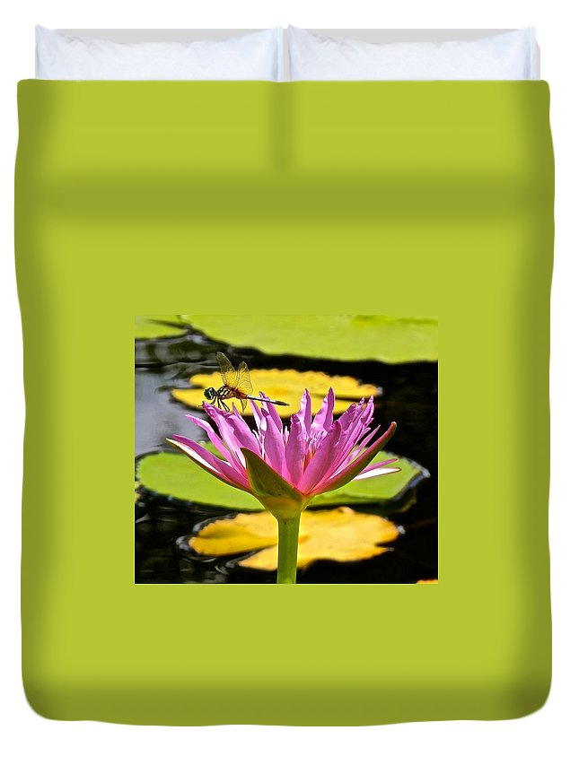 Lotus Duvet Cover featuring the photograph Water Lily With Dragonfly by Joe Wyman