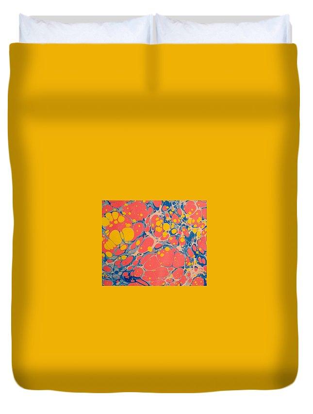 Water Marbling Art Duvet Cover featuring the painting Water Marbling Art Ebru by Dilan C