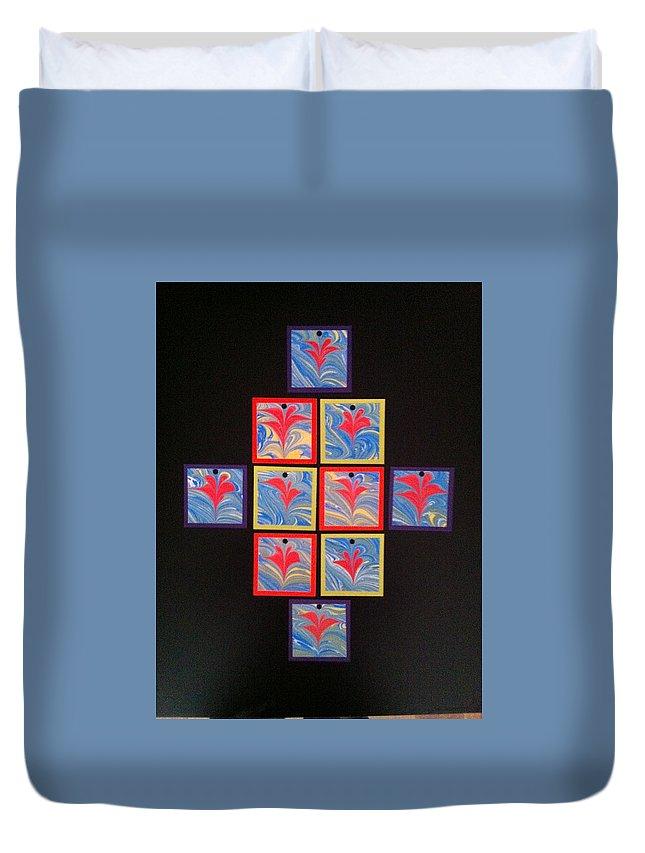Water Marbling Art Duvet Cover featuring the painting Water marbling art,ebru by Dilan C
