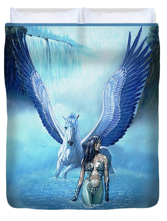 Fantasy Duvet Cover featuring the painting Water Pegasus by Stanley Morrison