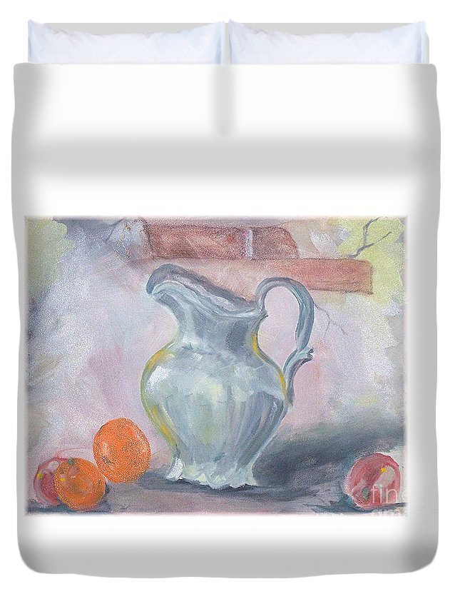 Still Life Duvet Cover featuring the painting Water Pitcher by Hal Newhouser