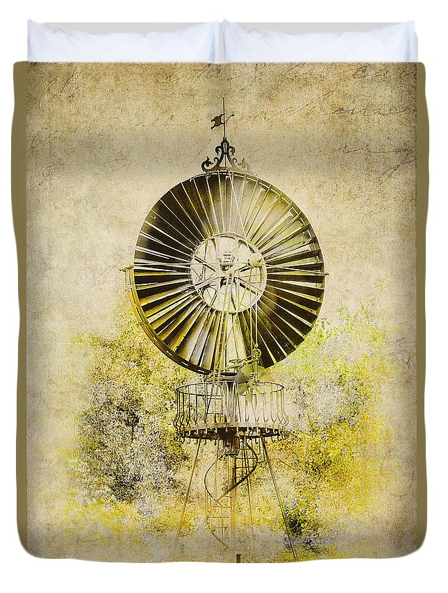 Wind Power Duvet Cover featuring the photograph Water-pumping Windmill by Heiko Koehrer-Wagner