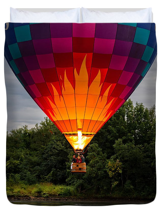 Water Scraping Duvet Cover featuring the photograph Water Scraping Hot Air Balloons by Bob Orsillo
