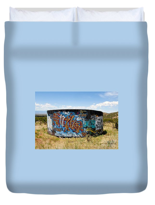 Graffiti Duvet Cover featuring the photograph Water Tank Graffiti by David Lee Thompson