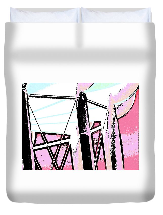 Abstract Duvet Cover featuring the digital art Water Tower In Pink Abstract by Lenore Senior