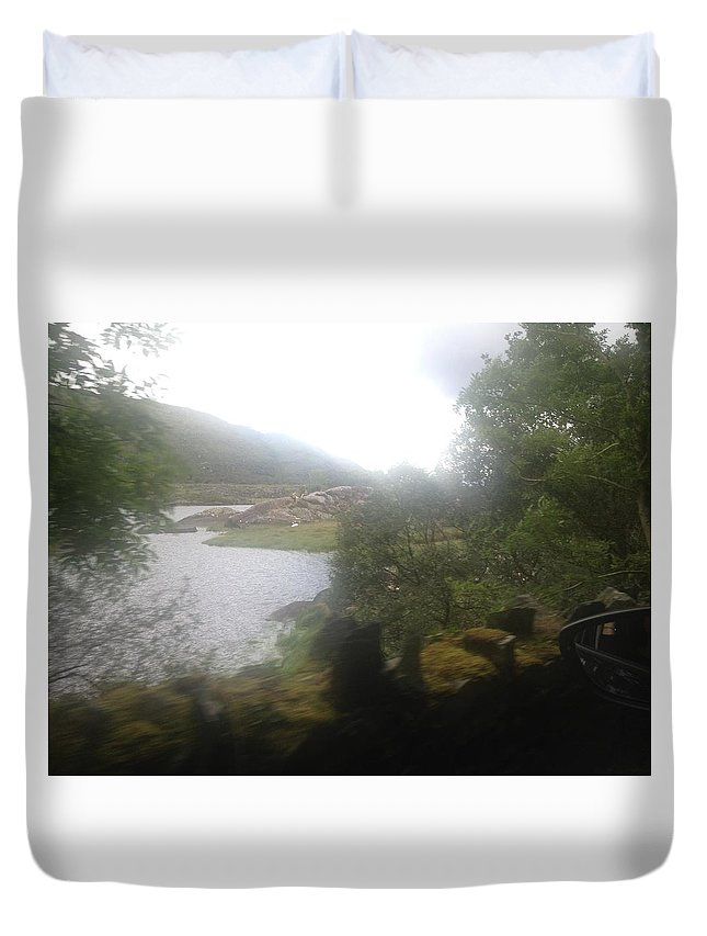 Duvet Cover featuring the mixed media Water Way by Christina McNee-Geiger