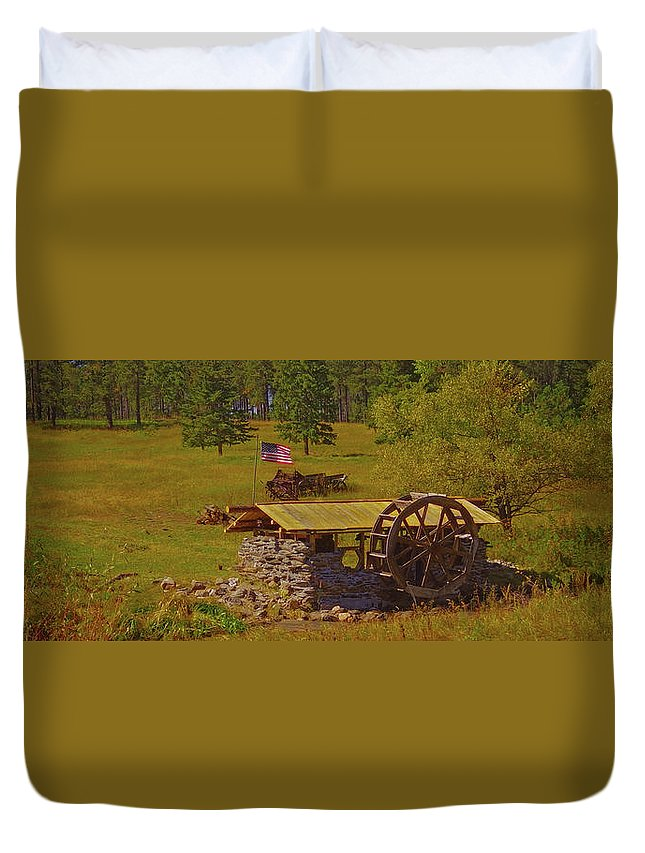Flag Duvet Cover featuring the photograph Water Wheel House by Amanda Smith