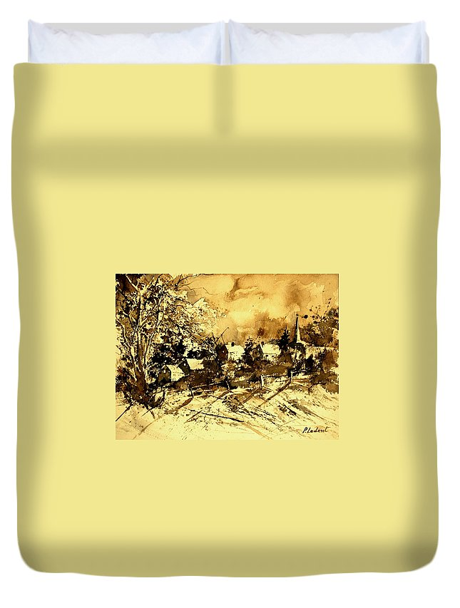 Duvet Cover featuring the painting Watercolor 01 by Pol Ledent