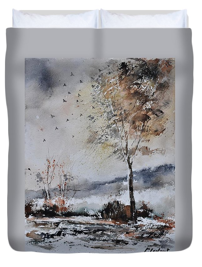 Landscape Duvet Cover featuring the painting Watercolor 010103 by Pol Ledent