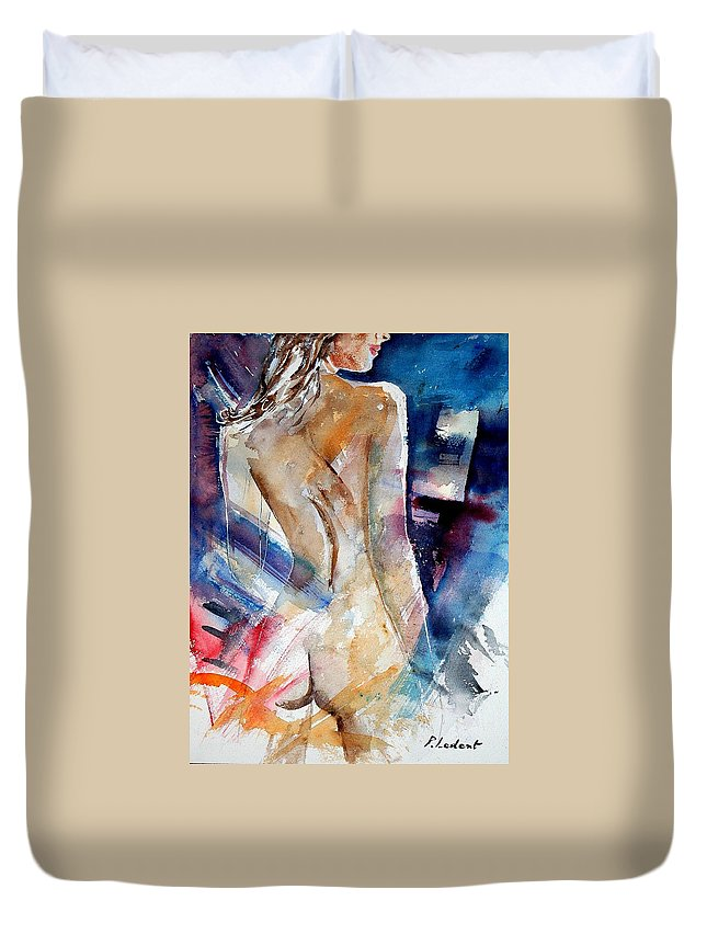 Nude Duvet Cover featuring the painting Watercolor 010107 by Pol Ledent