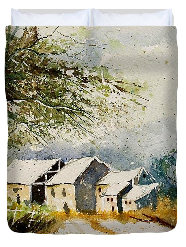 Landscape Duvet Cover featuring the painting Watercolor 010708 by Pol Ledent