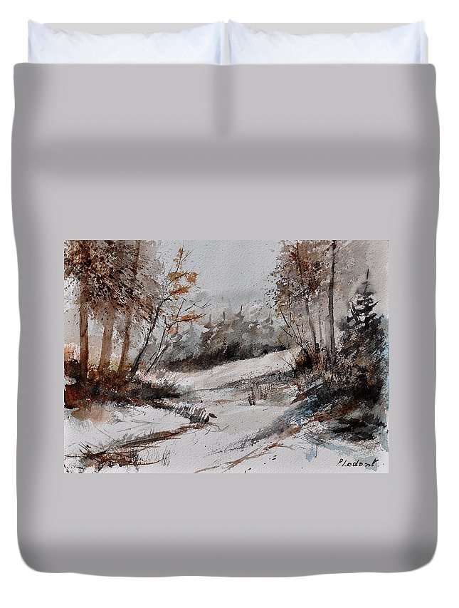 Landscape Duvet Cover featuring the painting Watercolor 017051 by Pol Ledent