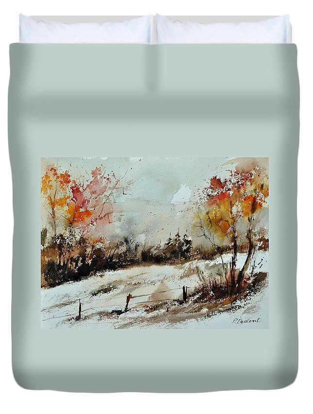 Duvet Cover featuring the painting Watercolor 018090 by Pol Ledent