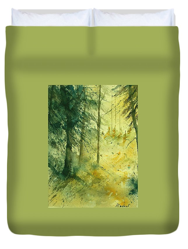 Tree Duvet Cover featuring the painting Watercolor 030106 by Pol Ledent