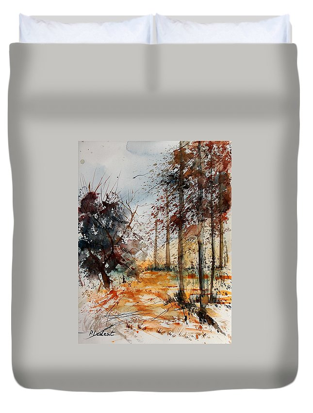 Tree Duvet Cover featuring the painting Watercolor 040902 by Pol Ledent