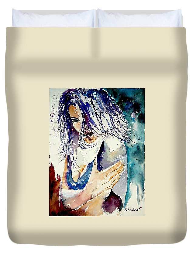 Girl Duvet Cover featuring the painting Watercolor 050308 by Pol Ledent