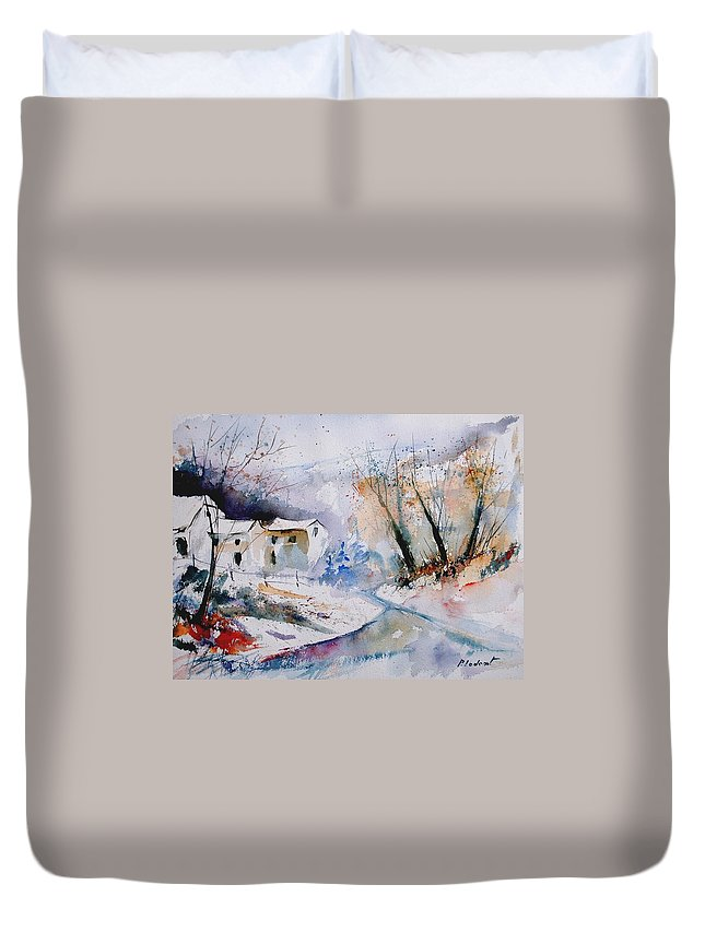 Winter Duvet Cover featuring the painting Watercolor 050408 by Pol Ledent
