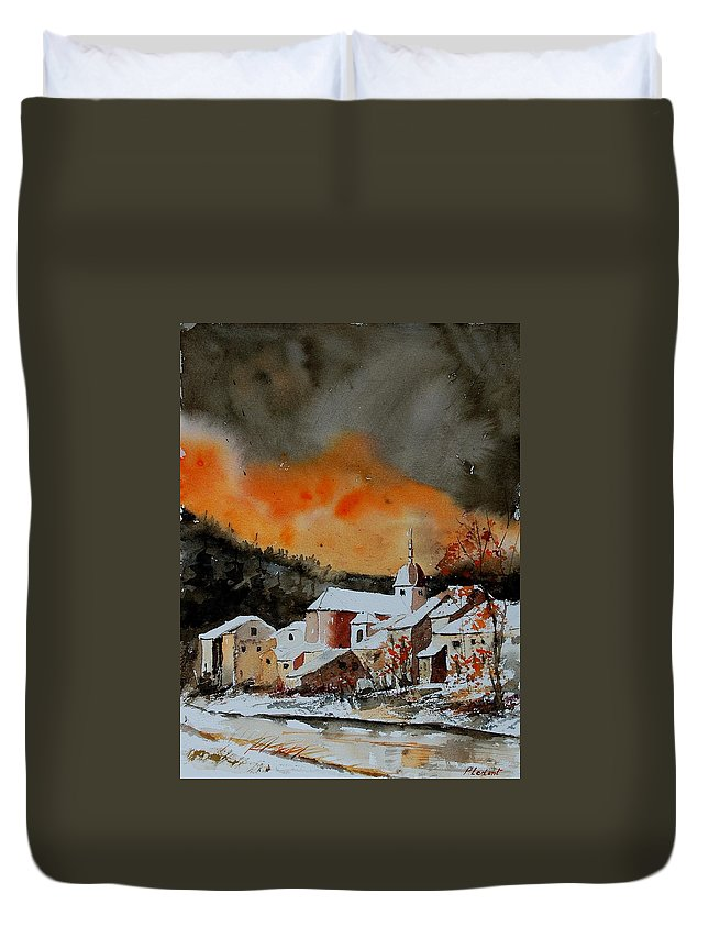Winter Duvet Cover featuring the painting Watercolor 050707 by Pol Ledent